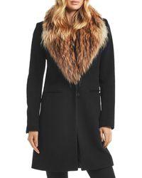 Sam. Crosby Wool Coat With Fur Trim - Black