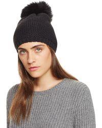 Kyi Kyi Slouchy Hat With Fox Fur Pom - Pom - Black