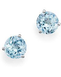 Bloomingdale's - Aquamarine Stud Earrings In 14k White Gold - Lyst