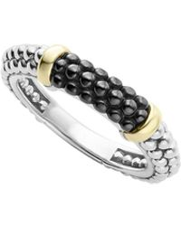 Lagos - Black Caviar Ceramic 18k Gold And Sterling Silver 2 Station Stacking Ring - Lyst