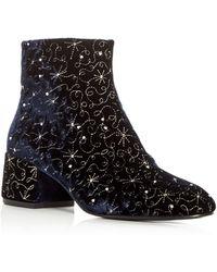 Ash - Women's Diamond Bis Embellished Velvet Block Heel Booties - Lyst