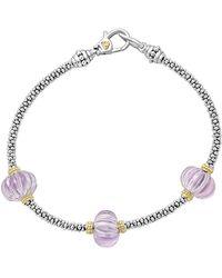 Lagos - 18k Gold & Sterling Silver Caviar Forever Rose De France Amethyst Melon Bead Station Rope Bracelet - Lyst