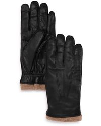 Bloomingdale's Knit - Cuff Leather Tech Gloves - Black