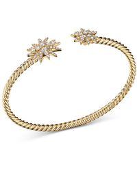 David Yurman 18k Yellow Gold Starburst Open Cable Bracelet With Diamonds - Metallic