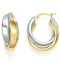 Bloomingdale's 14k Yellow And White Gold Bold Dual Hoop Earrings - Multicolour