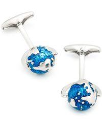 Link Up Spinning Globe Cufflinks - Blue