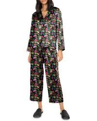 Generation Love Odessa Mixed Print Satin Pyjama Set - Black
