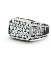 David Yurman - Exotic Stone Streamline Pavé Signet Ring With Gray Sapphire - Lyst