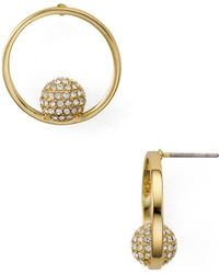 Rebecca Minkoff - Pavé Sphere Frontal Hoop Earrings - Lyst