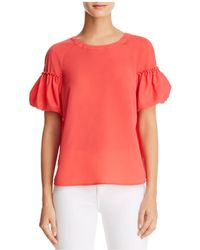 French Connection - Puff-sleeve Crepe Top - Lyst
