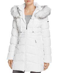 Laundry by Shelli Segal Windbreaker Faux Fur Trim Puffer Coat - White