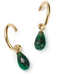 Bloomingdale's Emerald Briolette Hoop Drop Earrings In 14k Yellow Gold - Green