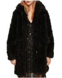 Maje Gordon Faux - Fur Coat - Black