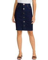 7 For All Mankind Jen7 By Button Front Jean Skirt In Laurel - Blue