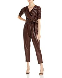 Aqua Faux Leather Ruched Sleeve Jumpsuit - Brown
