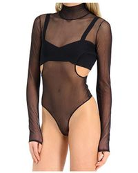 Hervé Léger Sheer Turtleneck Bra Bodysuit - Black