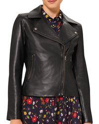 Hobbs Tania Leather Jacket - Black