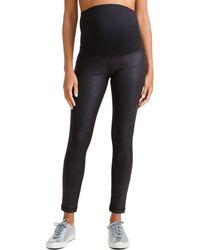 Ingrid & Isabel Maternity Leather-like Active Leggings W/ Crossover Panel - Black