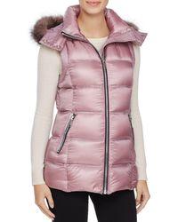Andrew Marc - Claire Fox Fur Trim Down Vest - Lyst