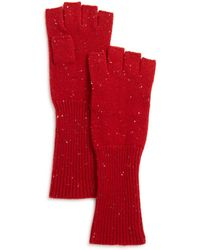 Aqua Cashmere Donegal Cashmere Fingerless Gloves - Red