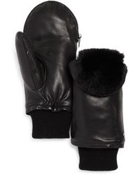 Echo Faux - Fur Lined Zip - Top Leather Mittens - Black