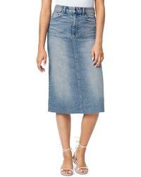 Joe's Jeans The A - Line Raw Hem Denim Skirt In Alder - Blue