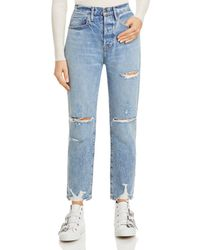 FRAME Le Original Distressed Straight Leg Jeans In Cascade Blue Rips