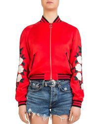 The Kooples - Rose-embroidered Graphic Bomber Jacket - Lyst