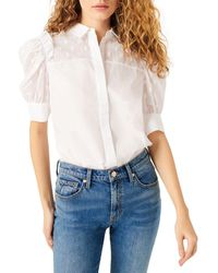 7 For All Mankind Puff Sleeve Button Front Top - White