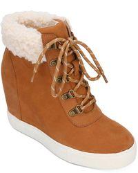 Kenneth Cole Kam Hiker Wedge Heel Sneakers - Brown