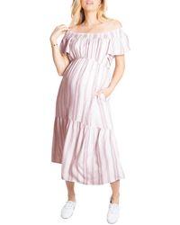 Ingrid & Isabel Ingrid & Isabel Flutter Sleeve Maternity Midi Dress - Pink