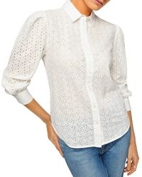 7 For All Mankind Puff Sleeve Eyelet Shirt - White