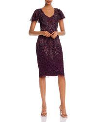 Adrianna Papell Beaded Sheath Dress - Purple