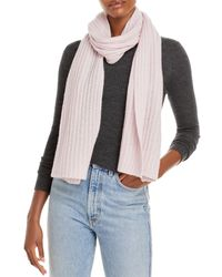 C By Bloomingdale's Solid Ribbed Cashmere Scarf - Pink