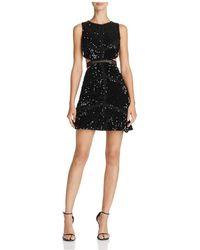 Olivaceous Sequin Cutout Dress - Black