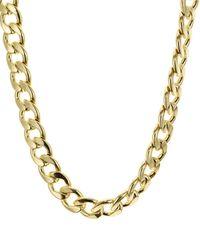 Aqua Chain Link Necklace - Metallic
