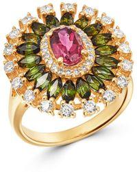 Bloomingdale's Pink & Green Tourmaline & Diamond Ring In 14k Yellow Gold - Metallic