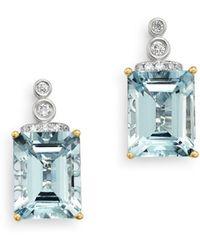 Bloomingdale's Aquamarine & Diamond Drop Earrings In 14k White Gold - Multicolour