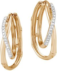 John Hardy - 18k Yellow Gold Diamond Bamboo Earrings - Lyst