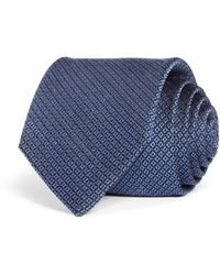 Bloomingdale's Geometric Woven Silk Classic Tie - Blue