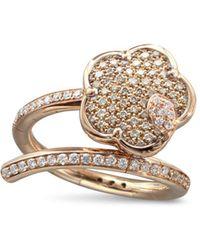 Pasquale Bruni - 18k Rose Gold Joli White & Champagne Diamond Flower Bypass Ring - Lyst
