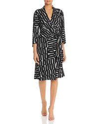 Kenneth Cole Printed Faux - Wrap Dress - Black