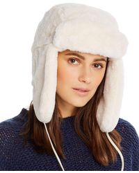 Aqua Faux Fur Trapper Hat - White