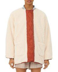 Maje Gloria Quilted Trim Faux Fur Coat - Multicolour