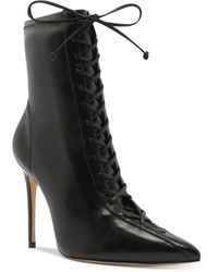 Schutz Tennie Point-toe Lace-up Boots - Black