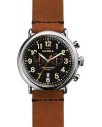 Shinola The Runwell Chronograph Tan Strap Watch - Brown