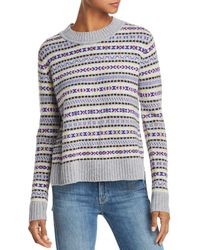 Aqua - Cashmere Fair Isle High/low Cashmere Jumper - Lyst