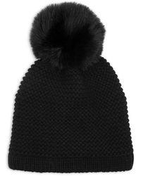 Kyi Kyi Knitted Faux Fur Pom Pom Hat - Black