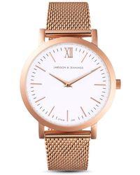 Larsson & Jennings - Lugano 33mm Rose Gold-white Milanese Watch - Lyst