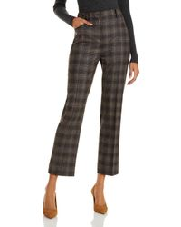 Theory Plaid Straight Leg Trousers - Brown